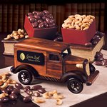 1935-Era Armored Car Bank with Chocolate Almonds & Extra Fancy Jumbo Cashews