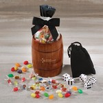 Classic Wooden Barrel Cup with Individually-Wrapped Jelly Belly Jelly Beans