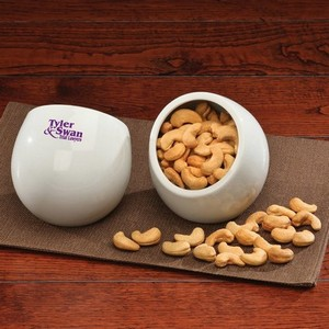 Modern White Candy Dish with Extra Fancy Jumbo Cashews