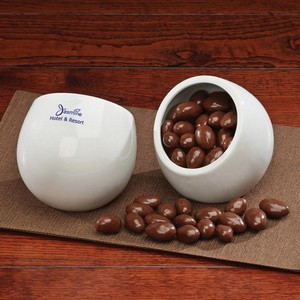 Modern White Candy Dish  with Chocolate Covered Almonds