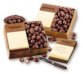 Walnut Post-it Note Holder with Chocolate Covered Almonds