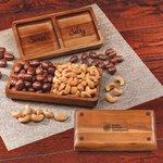 Acacia Tray with Chocolate Almonds & Cashews