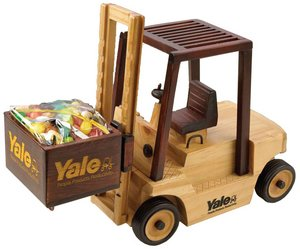 Wooden Forklift with Chocolate Almonds