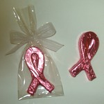 Chocolate Awareness Ribbon - Pink Foil