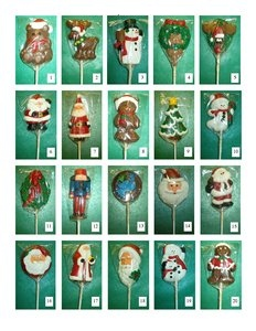 Chocolate Holiday Characters on a Stick with Imprinted Ribbon