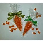 Mini Jelly Bean Carrot Tied with Green Rafia Ribbon