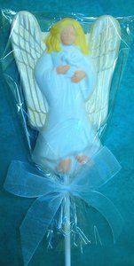 Chocolate Angel on a Stick with Custom Imprinted Ribbon