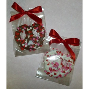Large Chocolate Dipped Pretzel Knot with Valentine Hearts