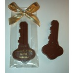 Milk Chocolate Key In Cello Tied with Gold Bow