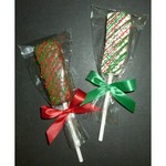 Christmas Krispy Stick Dipped in Chocolate, Drizzled in Red/Green