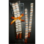Halloween Double Pretzel Rods Dipped in Chocolate