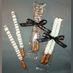 Chocolate Covered Pretzel Rods -2 Rods in Cello with Imprint