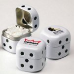 Dice Shaped Direct Imprint Tin Filled with Mints