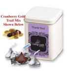 Cranberry Gold Trail Mix in White Canister and Custom Label