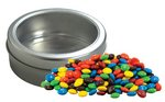 Candy Coated Chocolate in Top-View Window Tin with Custom Imprint