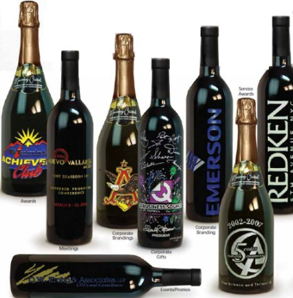 Customized Wine Bottles, Engraved Wine Bottles Great for holiday gifts, charity auctions, sporting events, mergers and more