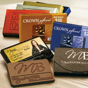 Custom Chocolate Business card Bar in Clear Wrapper