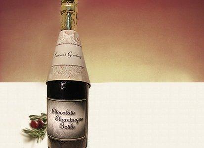 Seasons Greetings Champagne Bottle - Stock No Logo