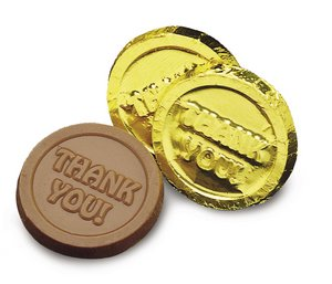 Milk Chocolate Thank You Coins in Gold Foil