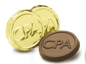 Milk Chocolate CPA Coins in Gold Foil