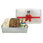 Candy Bark Assortment in Tin (Peppermint, M&M and Toffee)- 15 oz.