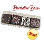 Chocolate Chip Fudge Brownies in Gold and Clear Gift Box (4)