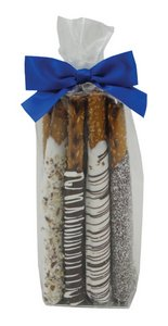 Chocolate Pretzel Rods in Decorative Gift Bag  (10 rods)