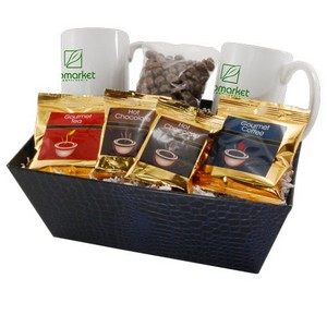 Tray with Mugs and Chocolate Peanuts