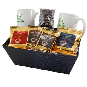 Tray with Mugs and Chocolate Almonds