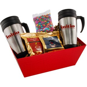 Tray with Mugs  and Chocolate Covered Sunflower Seeds