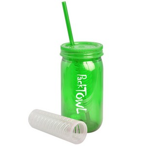 Mason Jar 21oz with Straw, Lid and Infuser Basket
