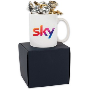 Soft Touch Mug Gift Box with Twist Wrapped Truffles