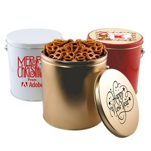 1 Gallon Gift Tin with Pretzels