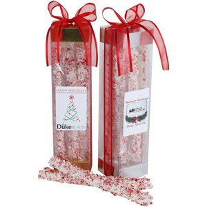 Holiday White Chocolate Covered Peppermint Pretzel Rods - 6 Piece