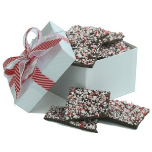 Dark Chocolate Peppermint Bark - White Gift Box 6 Oz.