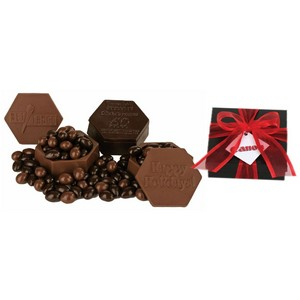 Dark Chocolate Edible Box with Chocolate Covered Almonds