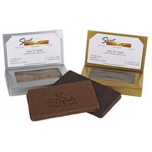 Gold Business Card Box with 1oz Molded Milk Chocolate Bar