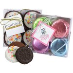 Chocolate Covered Sandwich Cookies with Spring Foil - 4 Piece