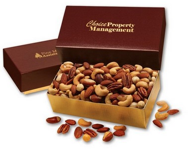 Deluxe Mixed Nuts in Burgundy and Gold Gift Box
