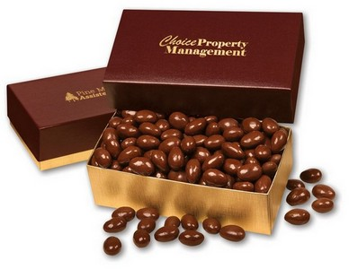 Chocolate Covered Almonds in Burgundy and Gold Gift Box