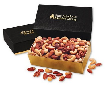 Deluxe Mixed Nuts in Black and Gold Gift Box