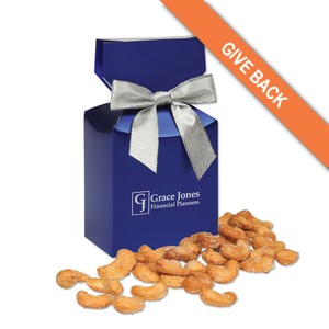 Honey Roasted Cashews in Metallic Blue Gift Box