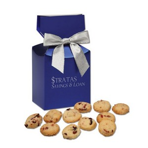 Gourmet Bite-Sized Cranberry Shortbread Cookies in Blue Premium D