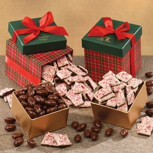 Classic Plaid Duo - Peppermint Bark and Chocolate Almonds