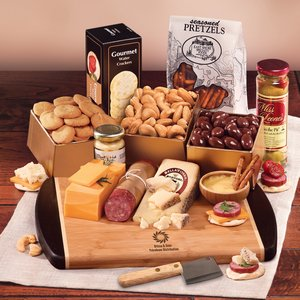Java Bamboo Cutting Board with Gourmet Cheese Selections