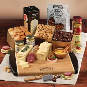 Java Bamboo Cutting Board with Gourmet Shelf-Stable Cheese Selections
