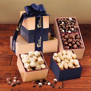 Crunchy Favorites Gold and Navy Gift Tower