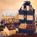 Navy & Gold Gourmet Food Gift Tower of Treats