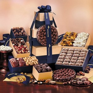 Executive Gourmet Tower Gold and Navy Gift Tower