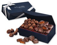 Sea Salt Caramels and Truffles in Navy Magnetic Closure Box